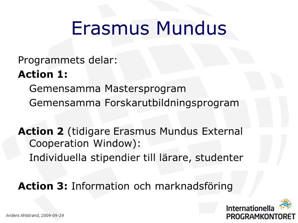 Anders Ahlstrand, 2009-09-29 Erasmus Mundus Programmets delar: Action 1: Gemensamma Mastersprogram Gemensamma Forskarutbildningsprogram Action 2 (tidigare Erasmus Mundus External Cooperation Window): Individuella stipendier till lärare, studenter Action 3: Information och marknadsföring