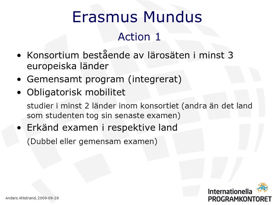 Anders Ahlstrand, 2009-09-29 Erasmus Mundus Action 1 •Konsortium bestående av lärosäten i minst 3 europeiska länder •Gemensamt program (integrerat) •O