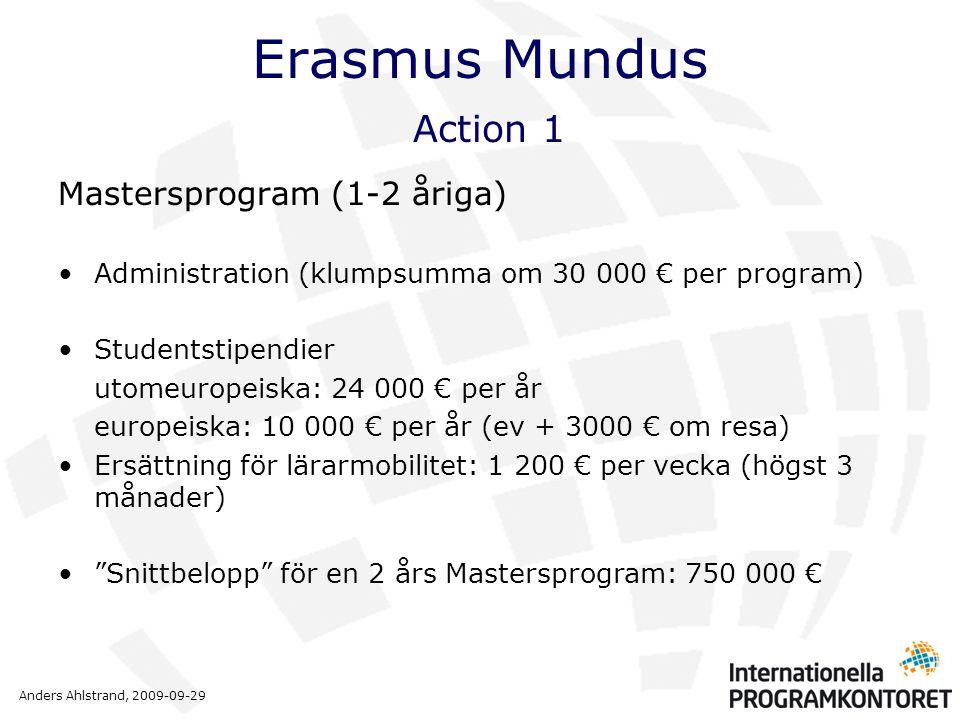 Anders Ahlstrand, 2009-09-29 Erasmus Mundus Action 1 Mastersprogram (1-2 åriga) •Administration (klumpsumma om 30 000 € per program) •Studentstipendier utomeuropeiska: 24 000 € per år europeiska: 10 000 € per år (ev + 3000 € om resa) •Ersättning för lärarmobilitet: 1 200 € per vecka (högst 3 månader) • Snittbelopp för en 2 års Mastersprogram: 750 000 €