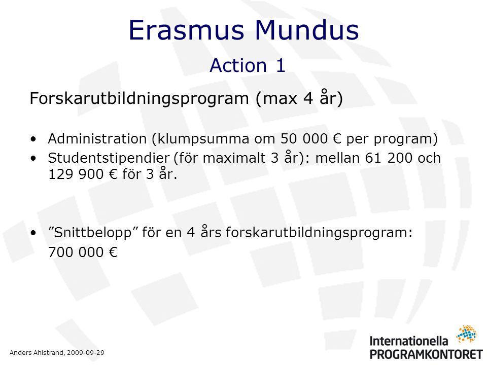 Anders Ahlstrand, 2009-09-29 Erasmus Mundus Action 1 Forskarutbildningsprogram (max 4 år) •Administration (klumpsumma om 50 000 € per program) •Studen