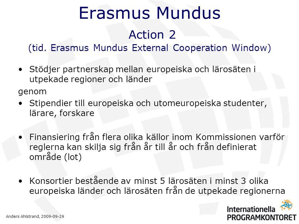 Anders Ahlstrand, 2009-09-29 Erasmus Mundus Action 2 (tid. Erasmus Mundus External Cooperation Window) •Stödjer partnerskap mellan europeiska och läro
