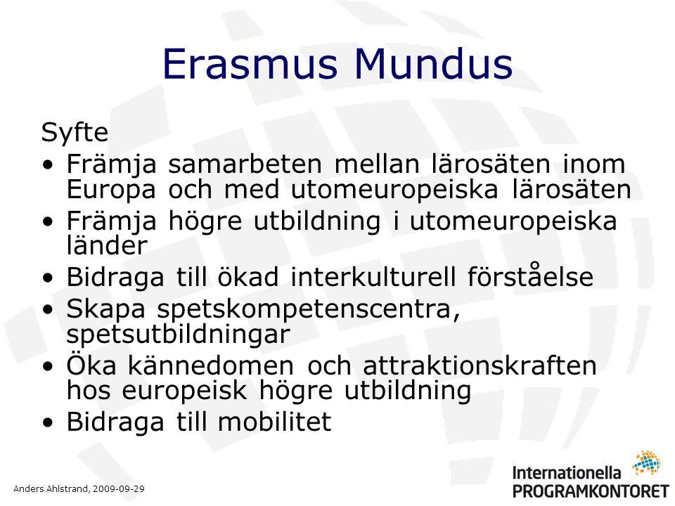 Anders Ahlstrand, 2009-09-29 Erasmus Mundus Syfte •Främja samarbeten mellan lärosäten inom Europa och med utomeuropeiska lärosäten •Främja högre utbil