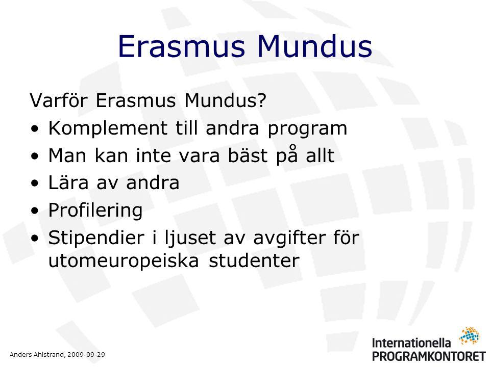 Anders Ahlstrand, 2009-09-29 Erasmus Mundus Varför Erasmus Mundus? •Komplement till andra program •Man kan inte vara bäst på allt •Lära av andra •Prof