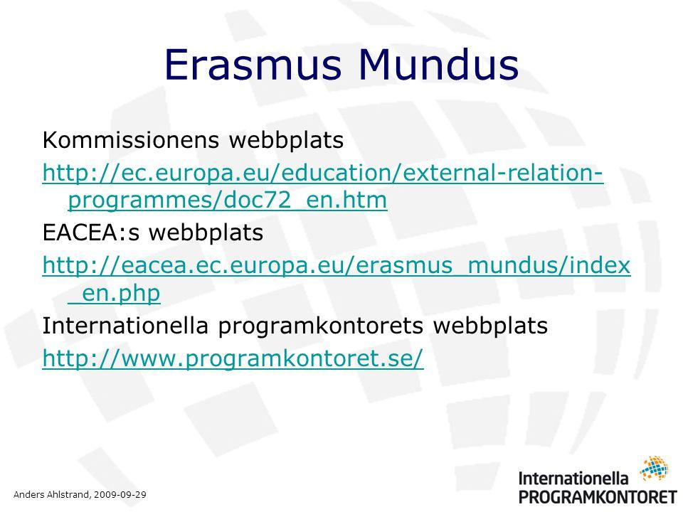 Anders Ahlstrand, 2009-09-29 Erasmus Mundus Kommissionens webbplats http://ec.europa.eu/education/external-relation- programmes/doc72_en.htm EACEA:s webbplats http://eacea.ec.europa.eu/erasmus_mundus/index _en.php Internationella programkontorets webbplats http://www.programkontoret.se/