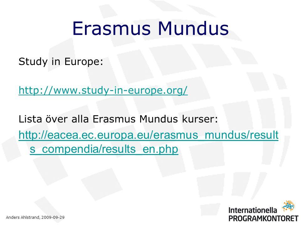 Anders Ahlstrand, 2009-09-29 Erasmus Mundus Study in Europe: http://www.study-in-europe.org/ Lista över alla Erasmus Mundus kurser: http://eacea.ec.eu