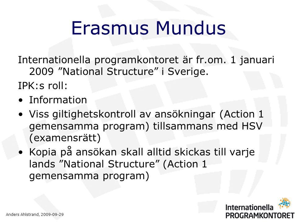 Anders Ahlstrand, 2009-09-29 Erasmus Mundus Europeiska kommissionen sköter genom sin utförarorganisation, EACEA (Executive Agency) urval, fördelning av medel, kontraktsskrivning, mm.