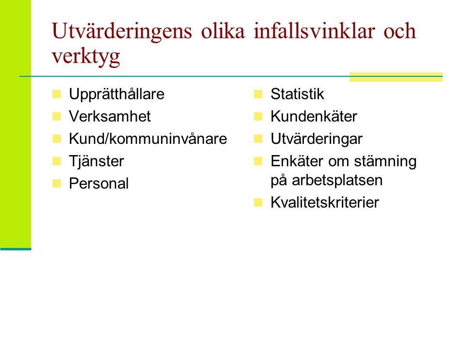 Olika mätare  Prestationsmätare (output, avkastning, prestation): vad har man åstadkommit genom insatserna  T.ex.