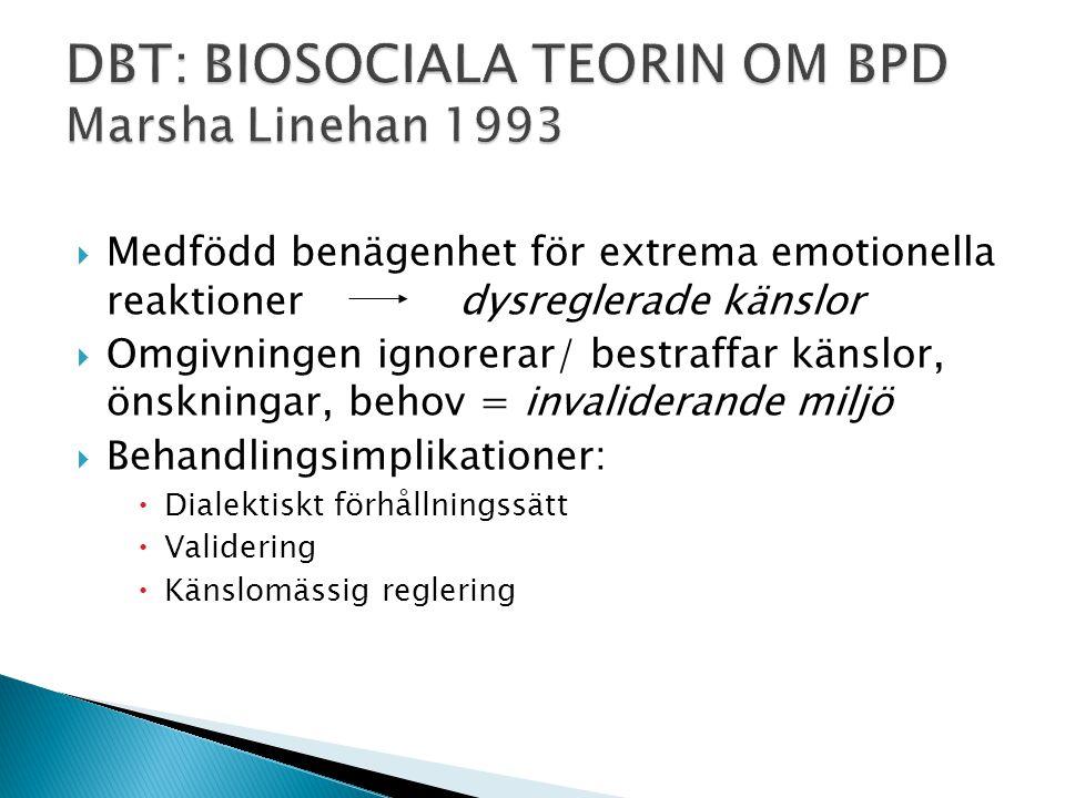  Medfödd benägenhet för extrema emotionella reaktioner dysreglerade känslor  Omgivningen ignorerar/ bestraffar känslor, önskningar, behov = invalide