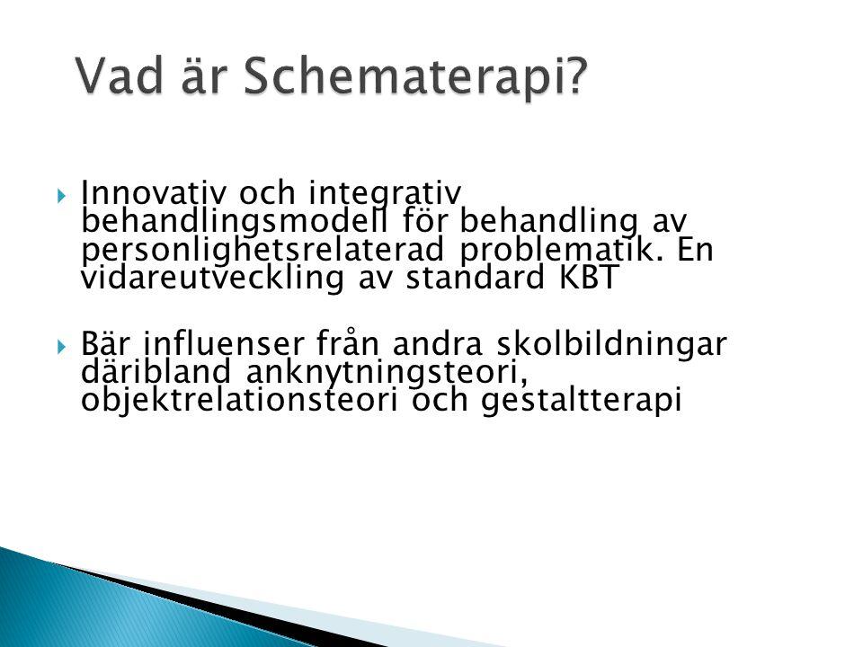 Vad är Schematerapi?  Innovativ och integrativ behandlingsmodell för behandling av personlighetsrelaterad problematik. En vidareutveckling av standar