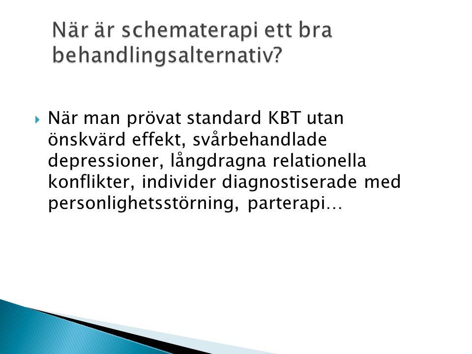När är schematerapi ett bra behandlingsalternativ?  När man prövat standard KBT utan önskvärd effekt, svårbehandlade depressioner, långdragna relatio
