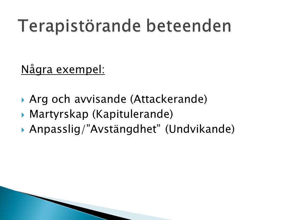 """Terapistörande beteenden Några exempel:  Arg och avvisande (Attackerande)  Martyrskap (Kapitulerande)  Anpasslig/""""Avstängdhet"""" (Undvikande)"""