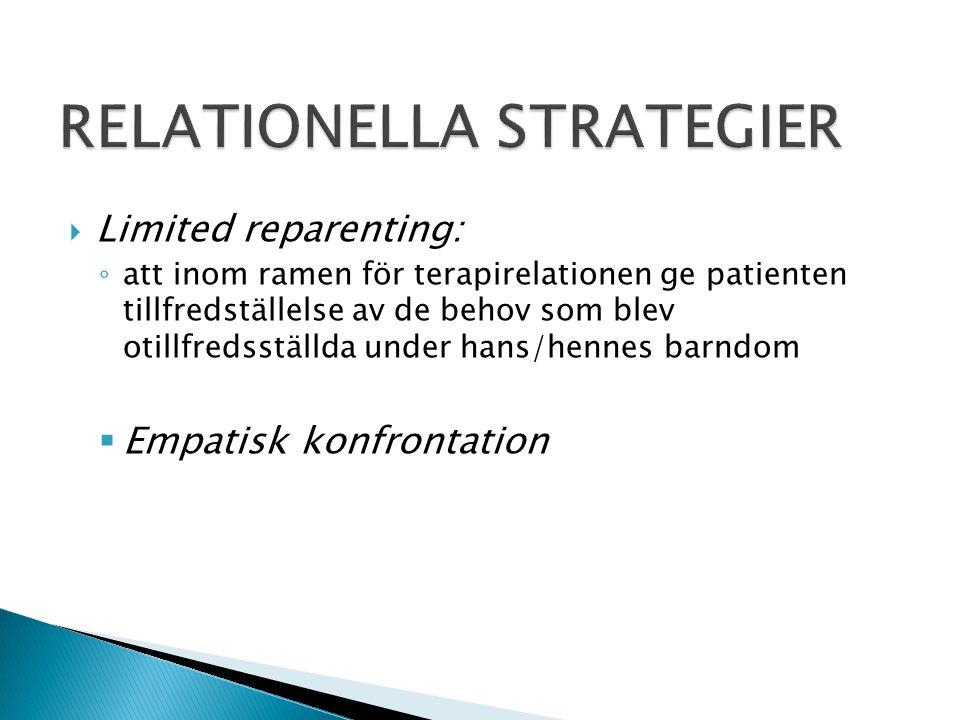  Limited reparenting: ◦ att inom ramen för terapirelationen ge patienten tillfredställelse av de behov som blev otillfredsställda under hans/hennes b