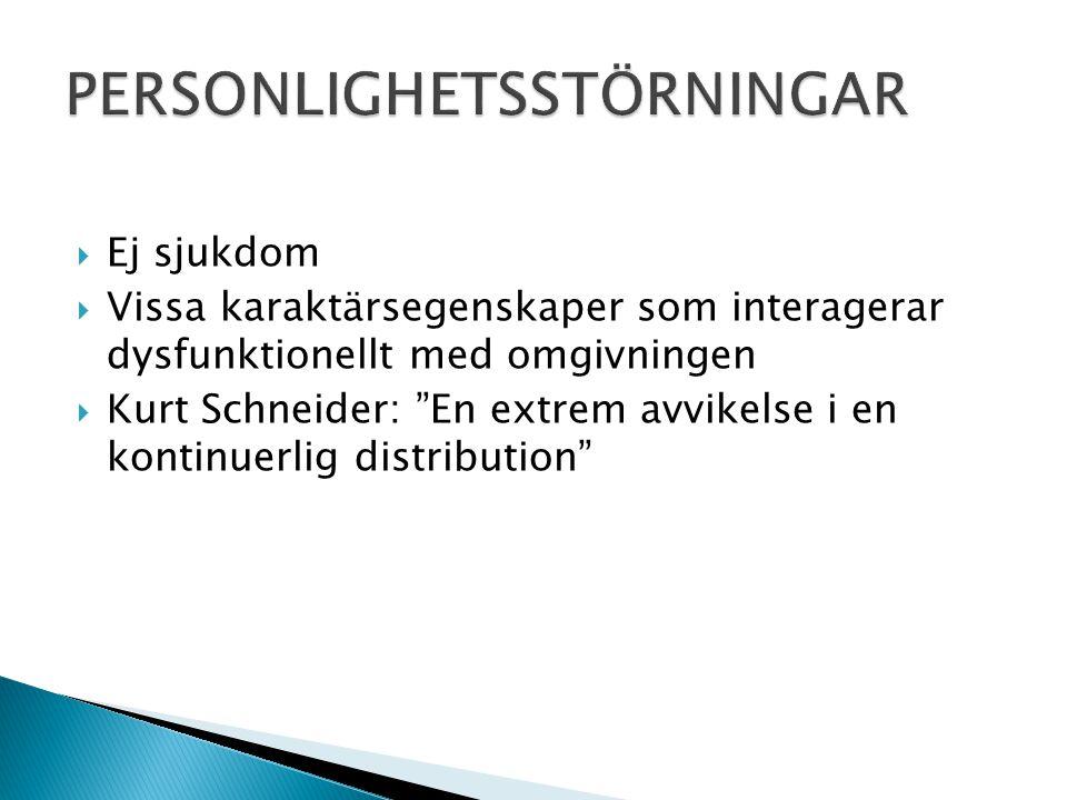  KLUSTER A (KYLIGA; EXCENTRISKA)  PARANOID  SCHIZOID  SCHIZOTYP  KLUSTER B (DRAMATISKA)  ANTISOCIAL  BORDERLINE  HISTRIONISK  NARCISSISTISK  KLUSTER C (ÄNGSLIGA)  FOBISK (UNDVIKANDE)  OSJÄLVSTÄNDIG  TVÅNGSMÄSSIG  PERSONLIGHETSSTÖRNING UNS