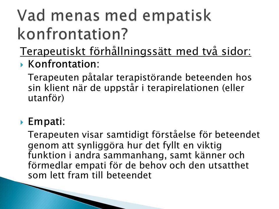 Vad menas med empatisk konfrontation? Terapeutiskt förhållningssätt med två sidor:  Konfrontation: Terapeuten påtalar terapistörande beteenden hos si