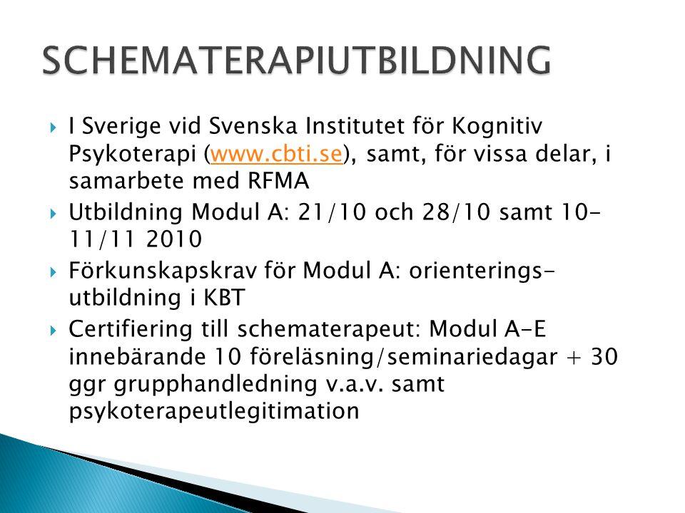  I Sverige vid Svenska Institutet för Kognitiv Psykoterapi (www.cbti.se), samt, för vissa delar, i samarbete med RFMAwww.cbti.se  Utbildning Modul A
