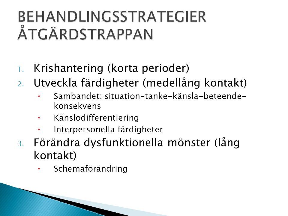 1. Krishantering (korta perioder) 2. Utveckla färdigheter (medellång kontakt)  Sambandet: situation-tanke-känsla-beteende- konsekvens  Känslodiffere