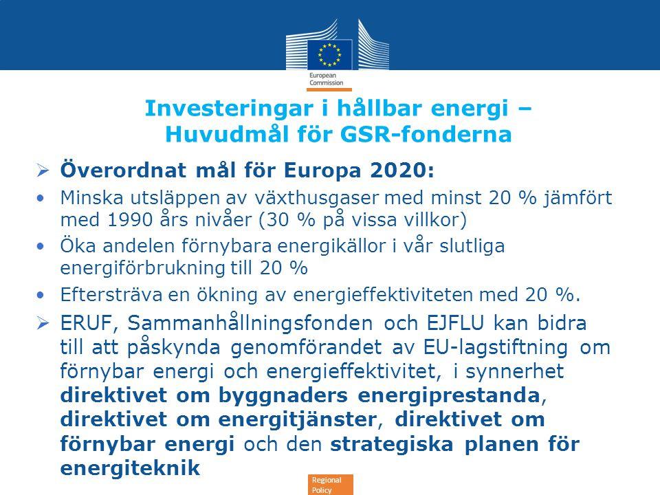 Regional Policy Investeringar i hållbar energi – Huvudmål för GSR-fonderna  Överordnat mål för Europa 2020: •Minska utsläppen av växthusgaser med min