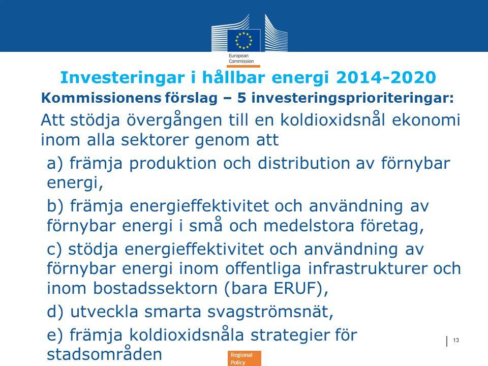 Regional Policy │ 13 Investeringar i hållbar energi 2014-2020 •Kommissionens förslag – 5 investeringsprioriteringar: •Att stödja övergången till en ko
