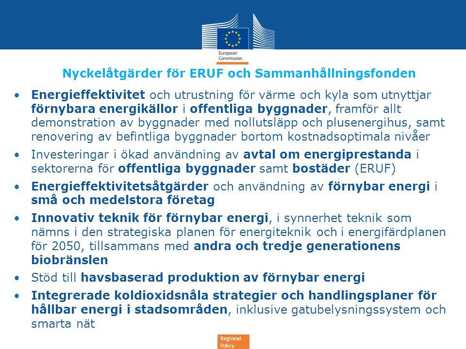 Regional Policy Nyckelåtgärder för ERUF och Sammanhållningsfonden •Energieffektivitet och utrustning för värme och kyla som utnyttjar förnybara energi