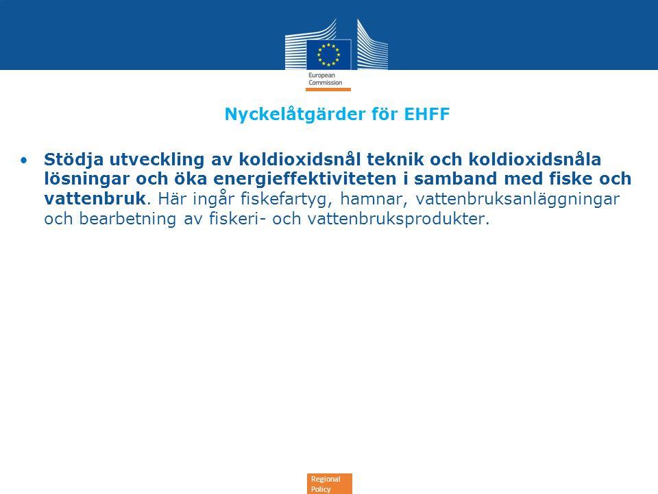 Regional Policy Nyckelåtgärder för EHFF •Stödja utveckling av koldioxidsnål teknik och koldioxidsnåla lösningar och öka energieffektiviteten i samband