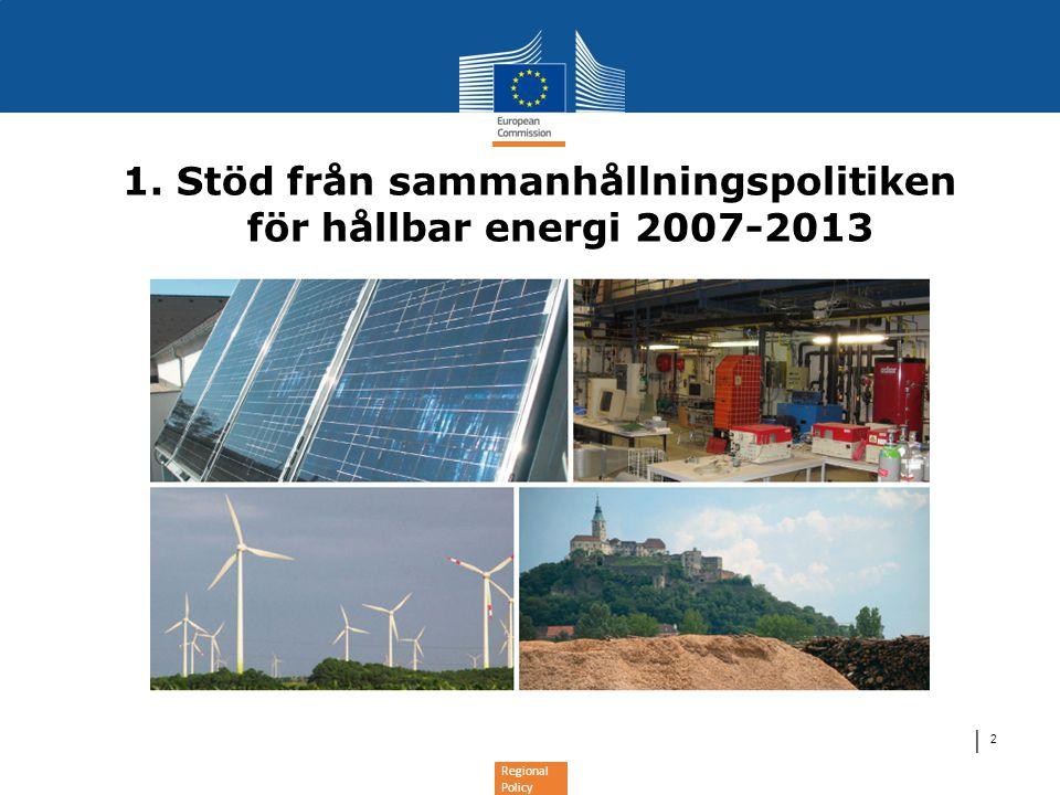 Regional Policy │ 13 Investeringar i hållbar energi 2014-2020 •Kommissionens förslag – 5 investeringsprioriteringar: •Att stödja övergången till en koldioxidsnål ekonomi inom alla sektorer genom att a)a) främja produktion och distribution av förnybar energi, b)b) främja energieffektivitet och användning av förnybar energi i små och medelstora företag, c)c) stödja energieffektivitet och användning av förnybar energi inom offentliga infrastrukturer och inom bostadssektorn (bara ERUF), d)d) utveckla smarta svagströmsnät, e)e) främja koldioxidsnåla strategier för stadsområden