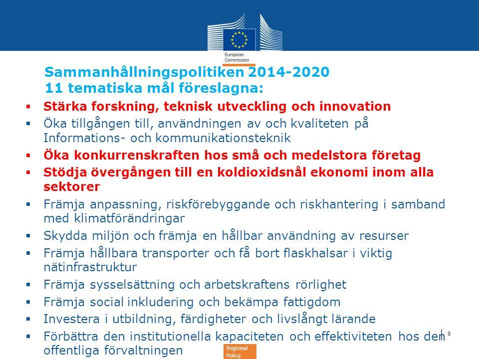Regional Policy │ 9 Sammanhållningspolitiken 2014-2020 11 tematiska mål föreslagna:  Stärka forskning, teknisk utveckling och innovation  Öka tillgå