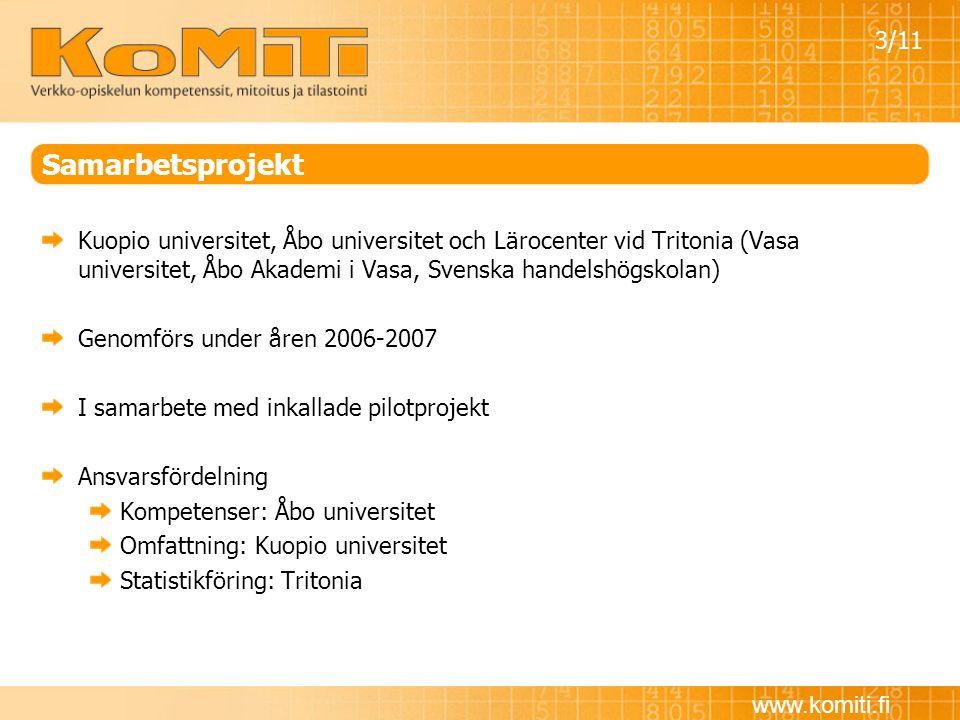 www.komiti.fi Samarbetsprojekt Kuopio universitet, Åbo universitet och Lärocenter vid Tritonia (Vasa universitet, Åbo Akademi i Vasa, Svenska handelsh