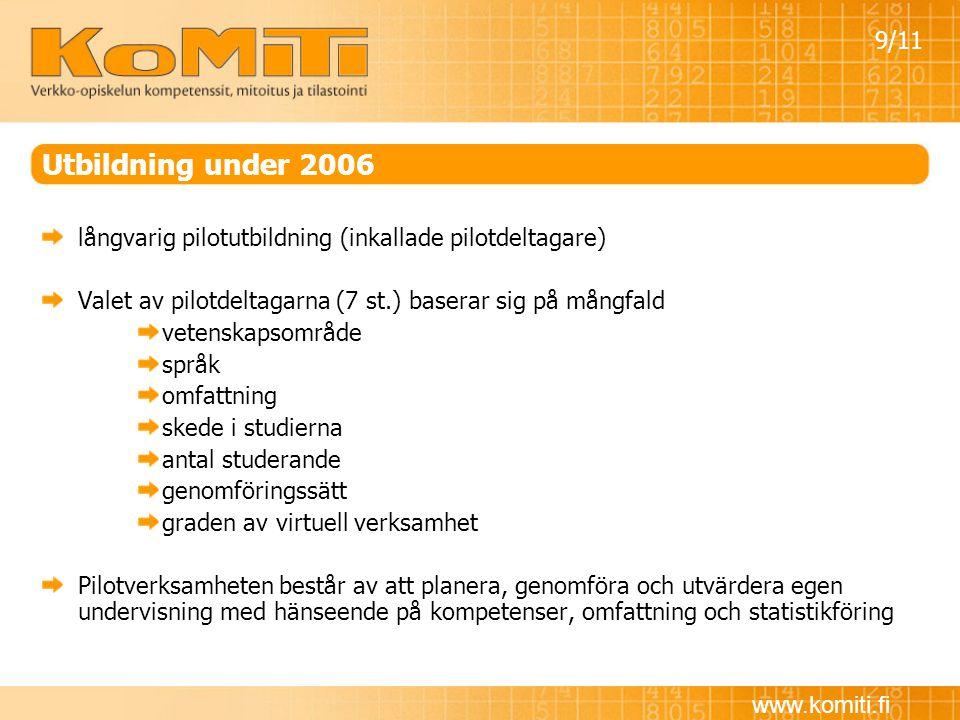www.komiti.fi Utbildning under 2006 långvarig pilotutbildning (inkallade pilotdeltagare) Valet av pilotdeltagarna (7 st.) baserar sig på mångfald vete