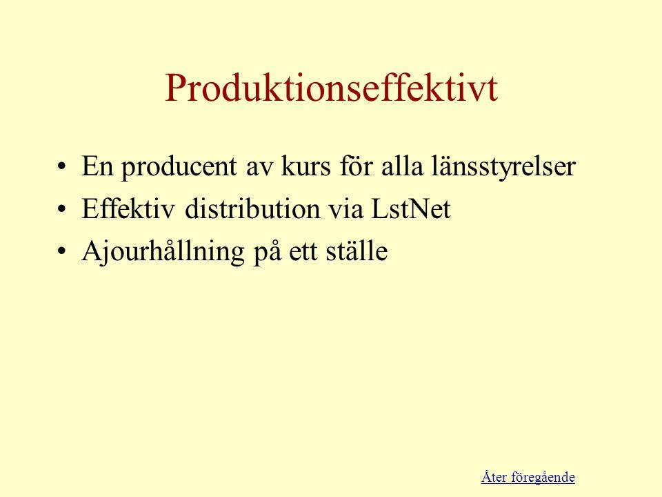 Produktionseffektivt •En producent av kurs för alla länsstyrelser •Effektiv distribution via LstNet •Ajourhållning på ett ställe Åter föregående