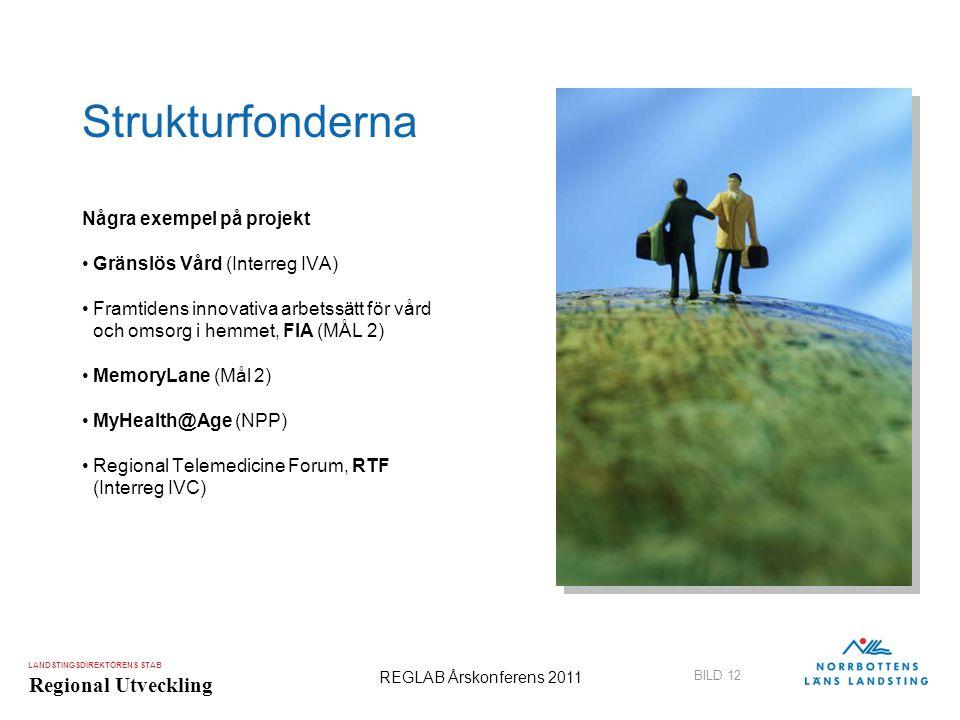 LANDSTINGSDIREKTÖRENS STAB Regional Utveckling BILD 12 REGLAB Årskonferens 2011 Strukturfonderna Några exempel på projekt •Gränslös Vård (Interreg IVA
