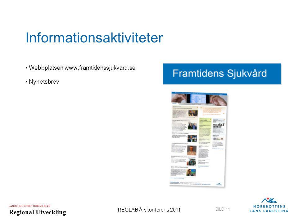 LANDSTINGSDIREKTÖRENS STAB Regional Utveckling BILD 14 REGLAB Årskonferens 2011 Informationsaktiviteter •Webbplatsen www.framtidenssjukvard.se •Nyhets