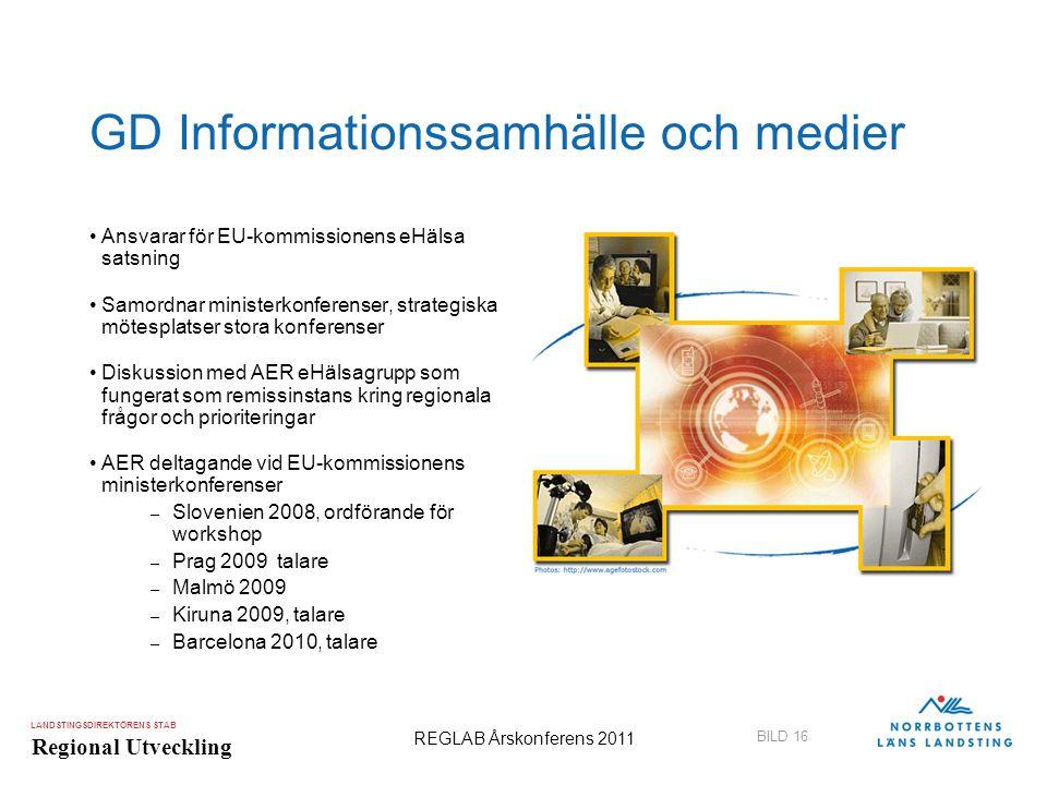 LANDSTINGSDIREKTÖRENS STAB Regional Utveckling BILD 16 REGLAB Årskonferens 2011 GD Informationssamhälle och medier •Ansvarar för EU-kommissionens eHäl