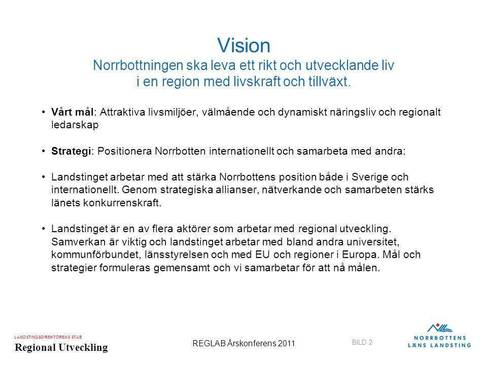 LANDSTINGSDIREKTÖRENS STAB Regional Utveckling BILD 2 REGLAB Årskonferens 2011 Vision Norrbottningen ska leva ett rikt och utvecklande liv i en region