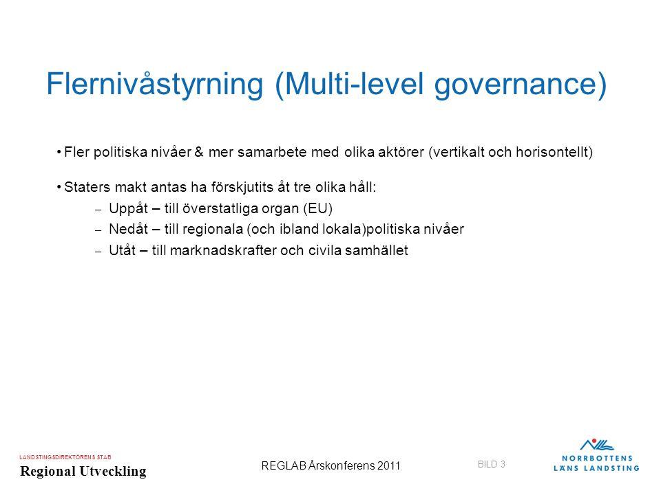 LANDSTINGSDIREKTÖRENS STAB Regional Utveckling BILD 3 REGLAB Årskonferens 2011 Flernivåstyrning (Multi-level governance) •Fler politiska nivåer & mer