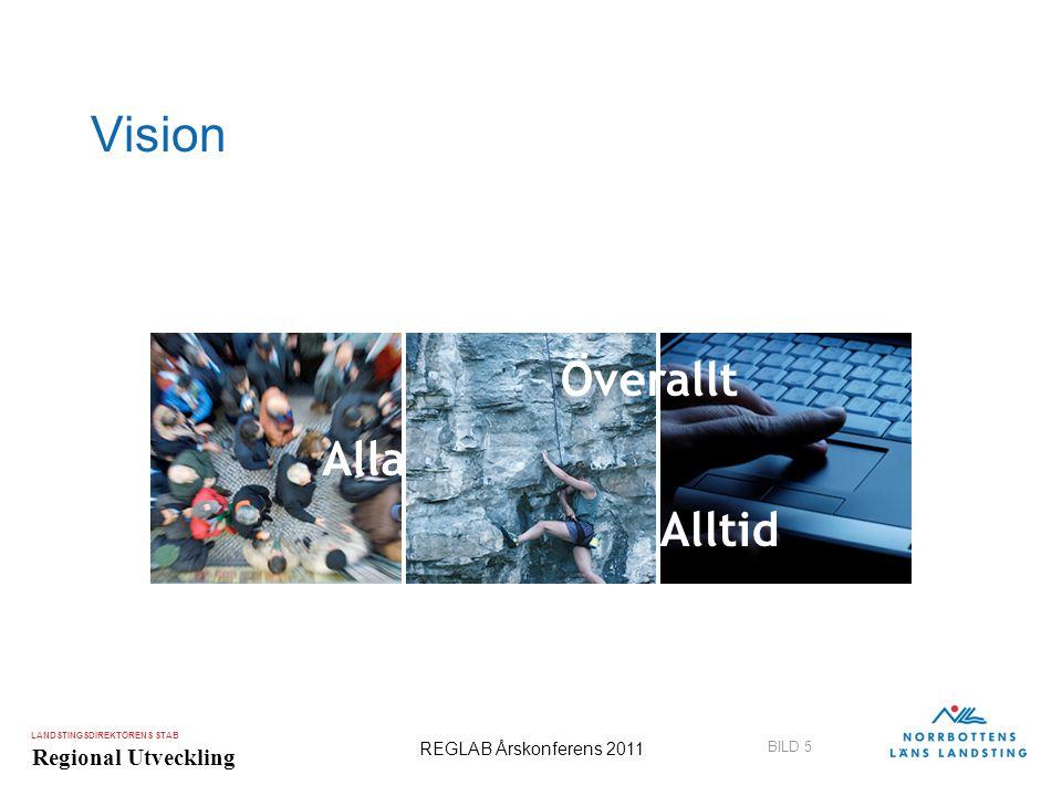 LANDSTINGSDIREKTÖRENS STAB Regional Utveckling BILD 5 REGLAB Årskonferens 2011 Vision Alla Överallt Alltid