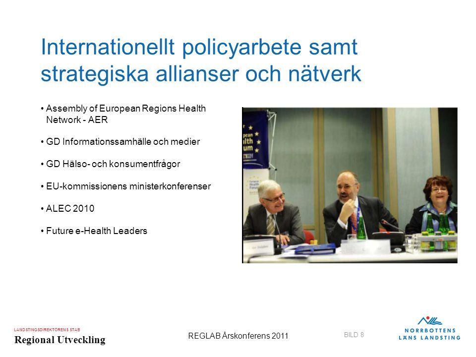 LANDSTINGSDIREKTÖRENS STAB Regional Utveckling BILD 8 REGLAB Årskonferens 2011 Internationellt policyarbete samt strategiska allianser och nätverk •As