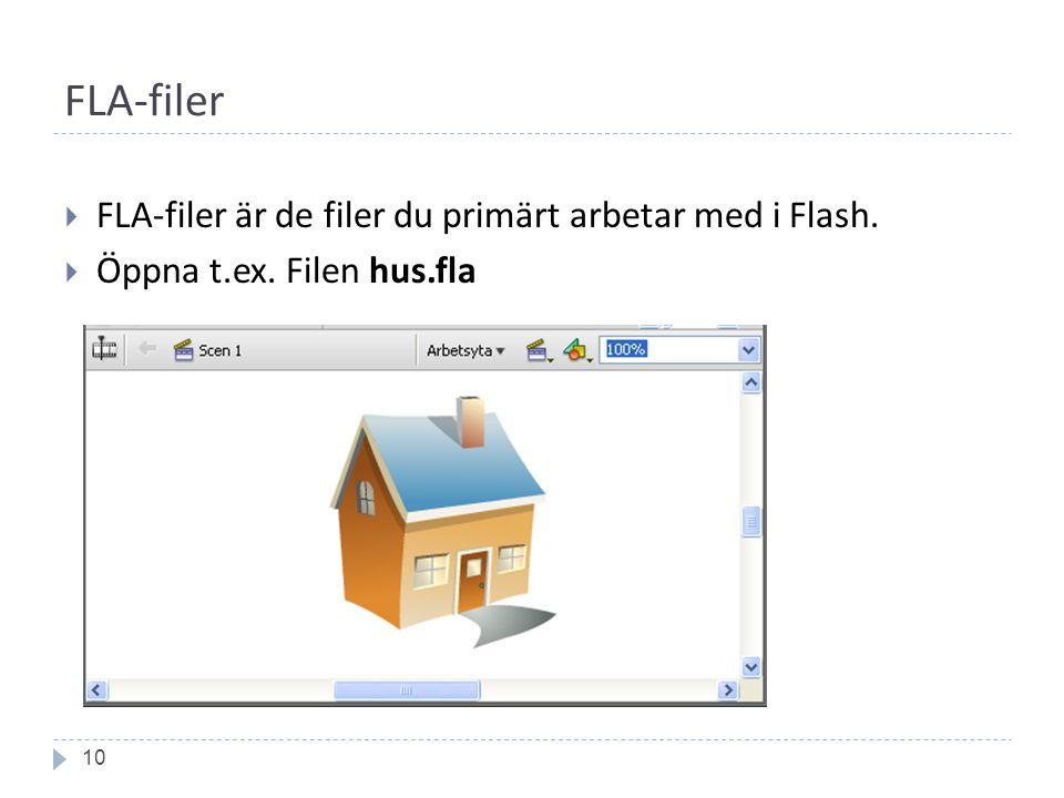 FLA-filer 10  FLA-filer är de filer du primärt arbetar med i Flash.  Öppna t.ex. Filen hus.fla