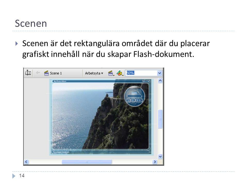 Scenen 14  Scenen är det rektangulära området där du placerar grafiskt innehåll när du skapar Flash-dokument.