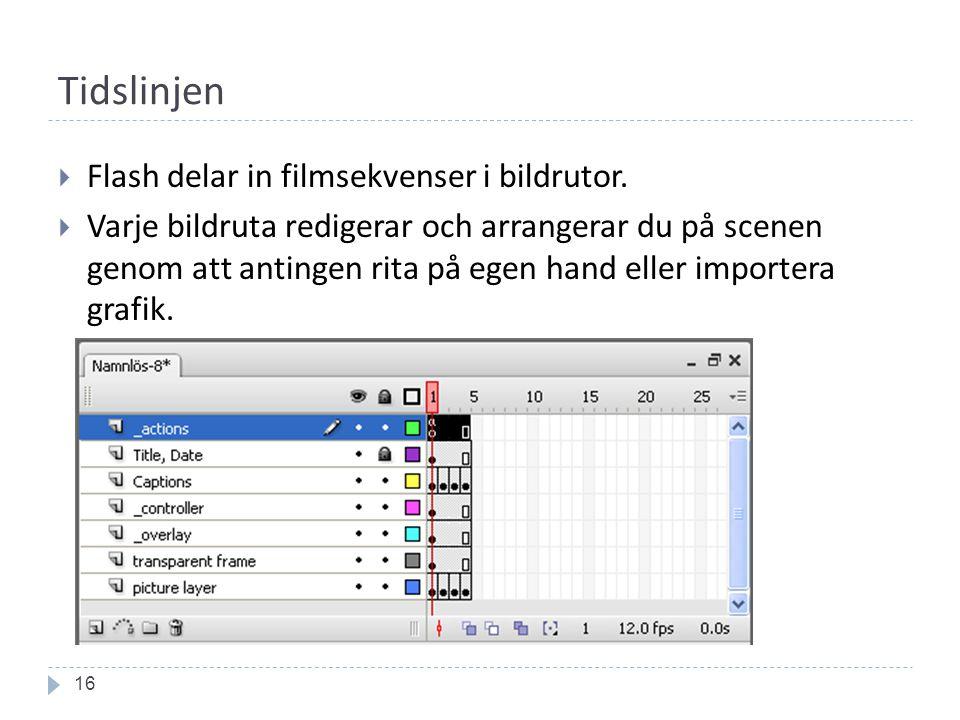 Tidslinjen 16  Flash delar in filmsekvenser i bildrutor.