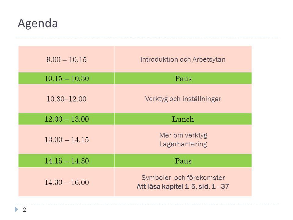 Agenda 2 9.00 – 10.15 Introduktion och Arbetsytan 10.15 – 10.30Paus 10.30–12.00 Verktyg och inställningar 12.00 – 13.00Lunch 13.00 – 14.15 Mer om verktyg Lagerhantering 14.15 – 14.30Paus 14.30 – 16.00 Symboler och förekomster Att läsa kapitel 1-5, sid.