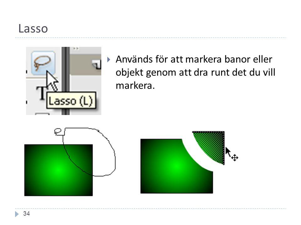 Lasso 34  Används för att markera banor eller objekt genom att dra runt det du vill markera.