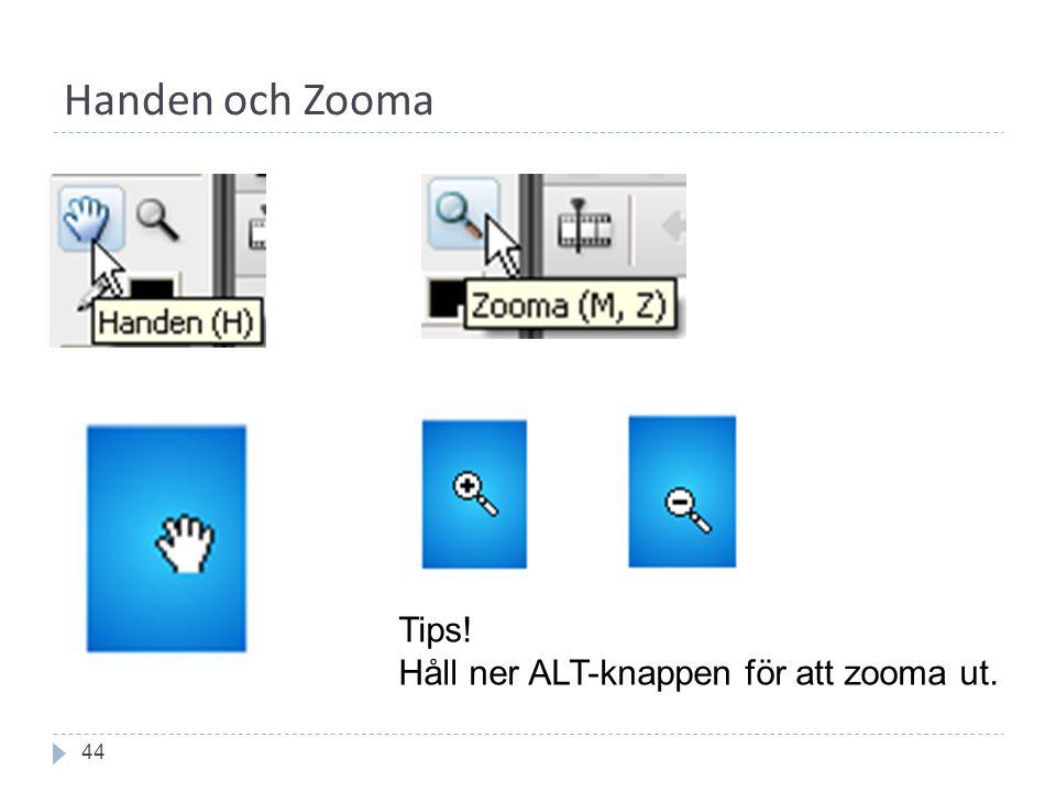 Handen och Zooma 44 Tips! Håll ner ALT-knappen för att zooma ut.