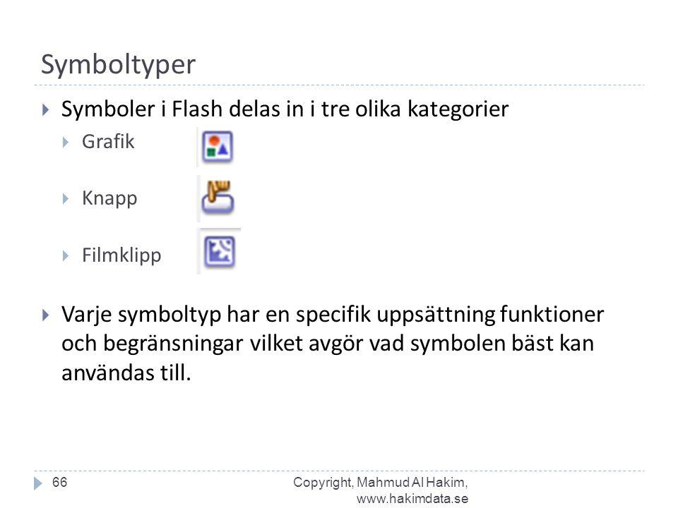 Symboltyper 66  Symboler i Flash delas in i tre olika kategorier  Grafik  Knapp  Filmklipp  Varje symboltyp har en specifik uppsättning funktioner och begränsningar vilket avgör vad symbolen bäst kan användas till.