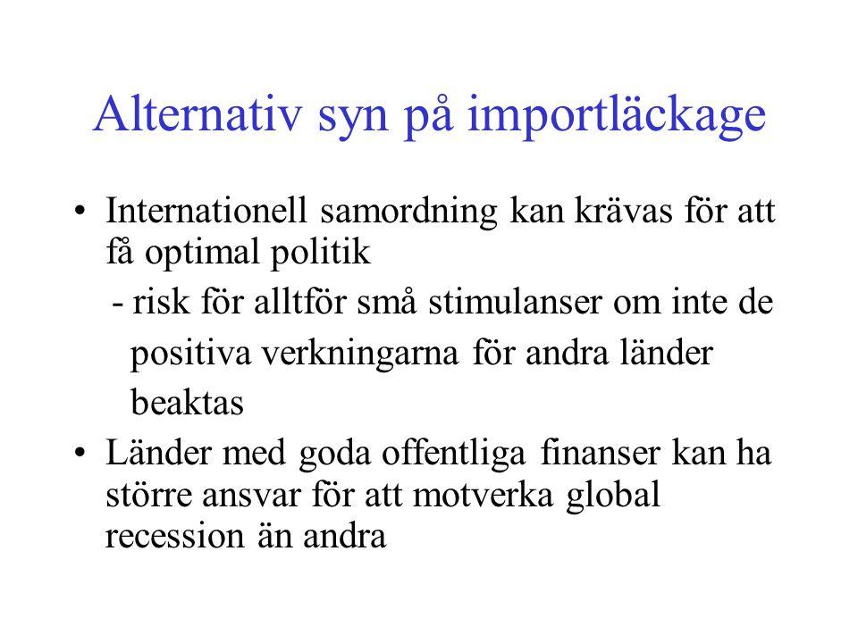 Alternativ syn på importläckage •Internationell samordning kan krävas för att få optimal politik - risk för alltför små stimulanser om inte de positiva verkningarna för andra länder beaktas •Länder med goda offentliga finanser kan ha större ansvar för att motverka global recession än andra