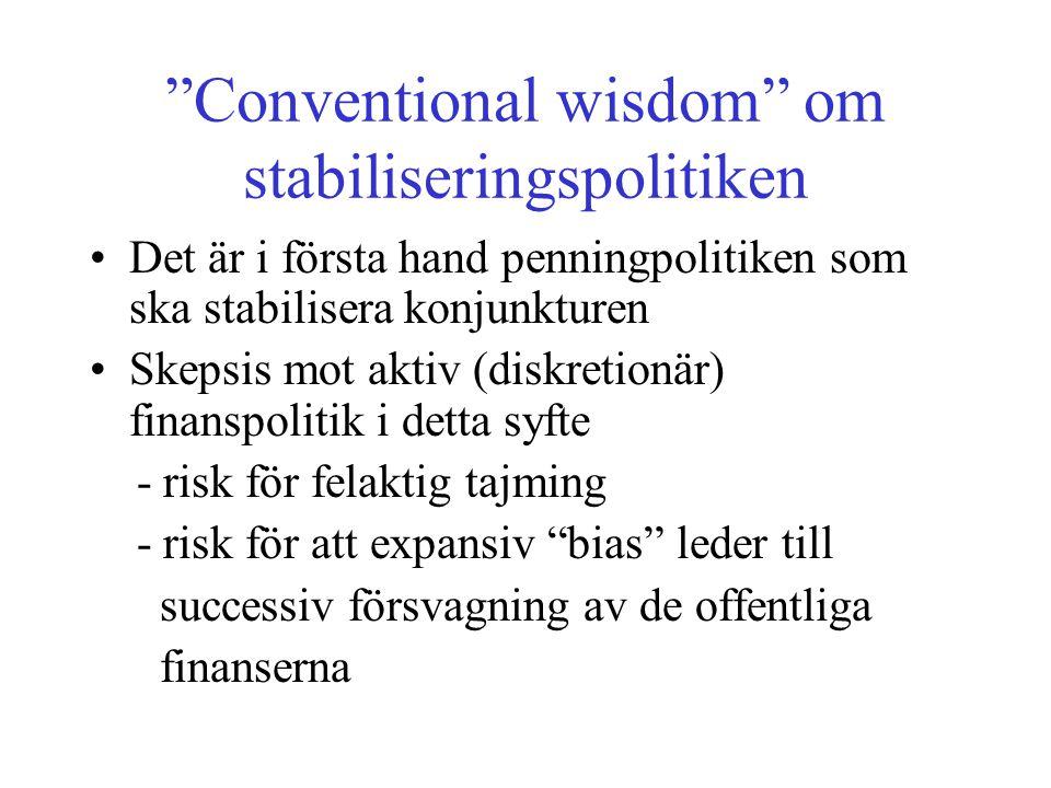 """""""Conventional wisdom"""" om stabiliseringspolitiken •Det är i första hand penningpolitiken som ska stabilisera konjunkturen •Skepsis mot aktiv (diskretio"""