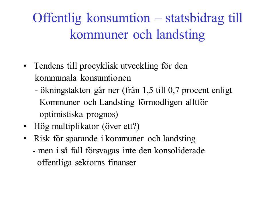 Offentlig konsumtion – statsbidrag till kommuner och landsting •Tendens till procyklisk utveckling för den kommunala konsumtionen - ökningstakten går
