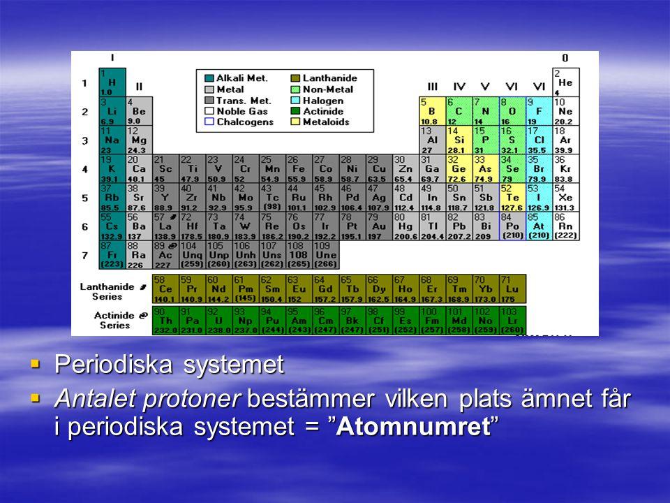  Periodiska systemet  Antalet protoner bestämmer vilken plats ämnet får i periodiska systemet = Atomnumret