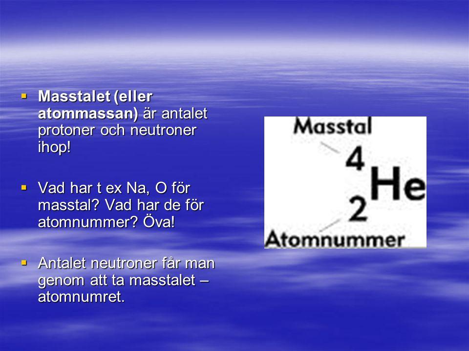  Masstalet (eller atommassan) är antalet protoner och neutroner ihop.