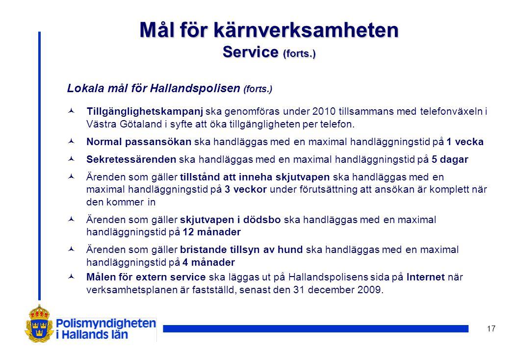 17 Lokala mål för Hallandspolisen (forts.) ©Tillgänglighetskampanj ska genomföras under 2010 tillsammans med telefonväxeln i Västra Götaland i syfte att öka tillgängligheten per telefon.