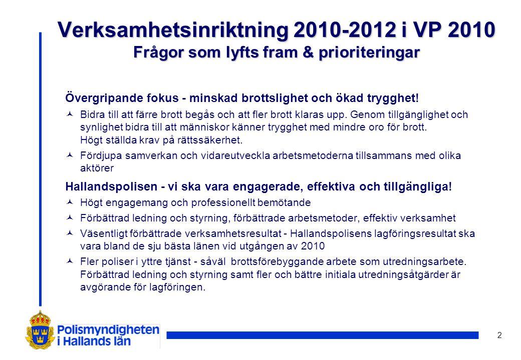 23 Lokala mål för Hallandspolisen ©Intern informationsinsats ska ske och vara genomförd senast den 30 april 2010 när det gäller bl.a.